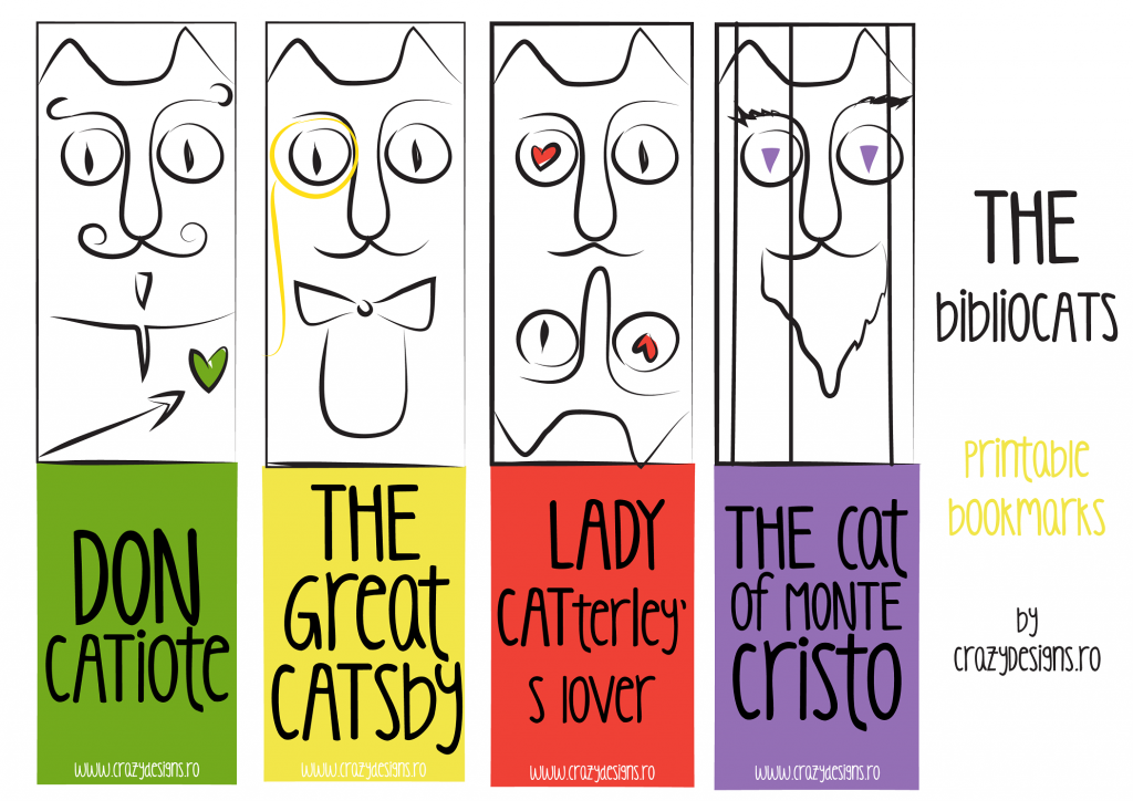 bookmarks, printable, crazydesigns, reading, books, cats, illustration